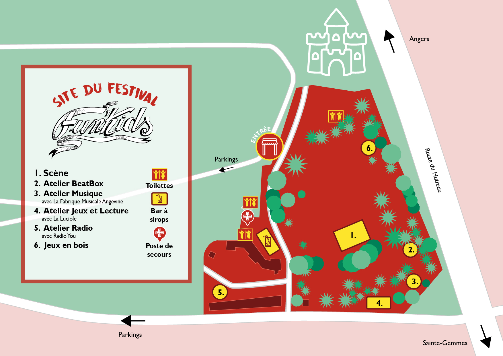 Plan du site du festival Fun'Kids